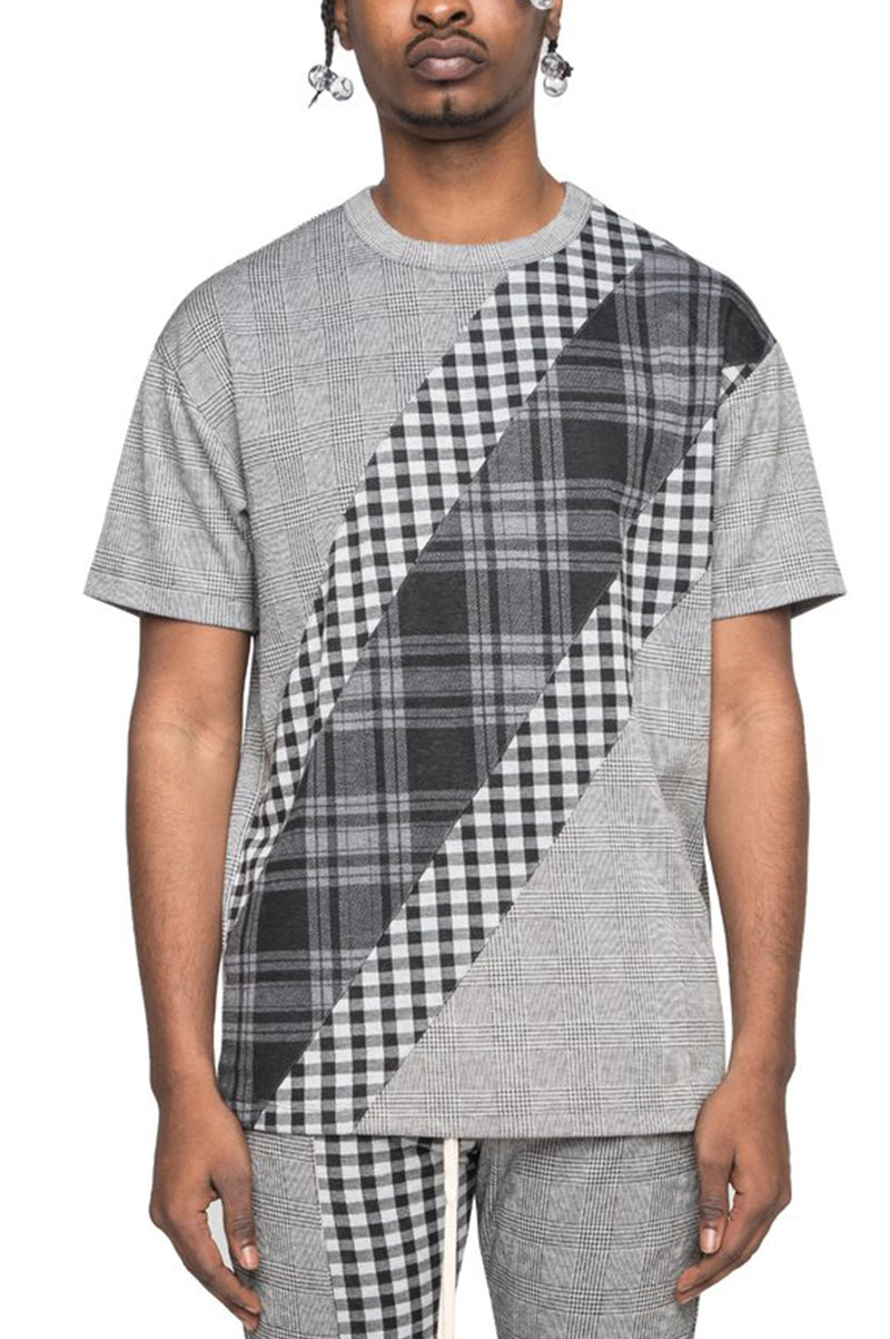Aao Fashion Men S/S Plaid Block Tee