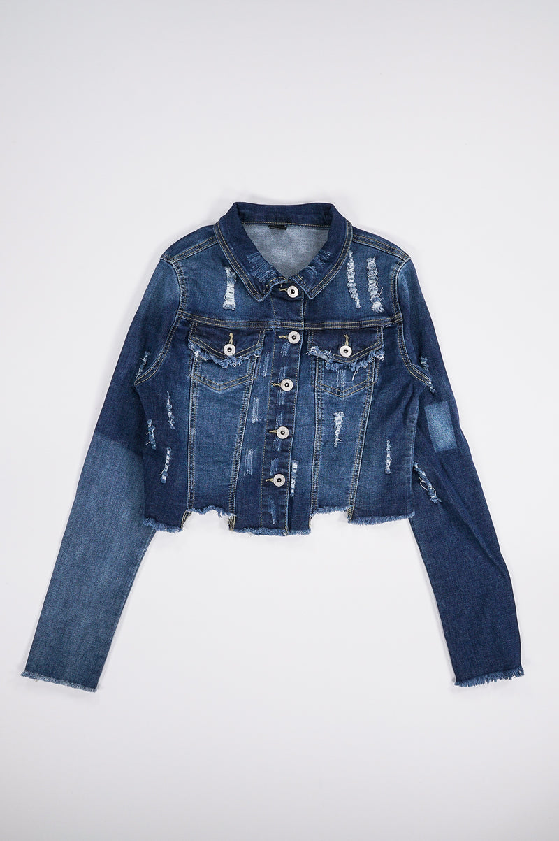 Aao Fashion Women Distressed Crop Denim Jacket