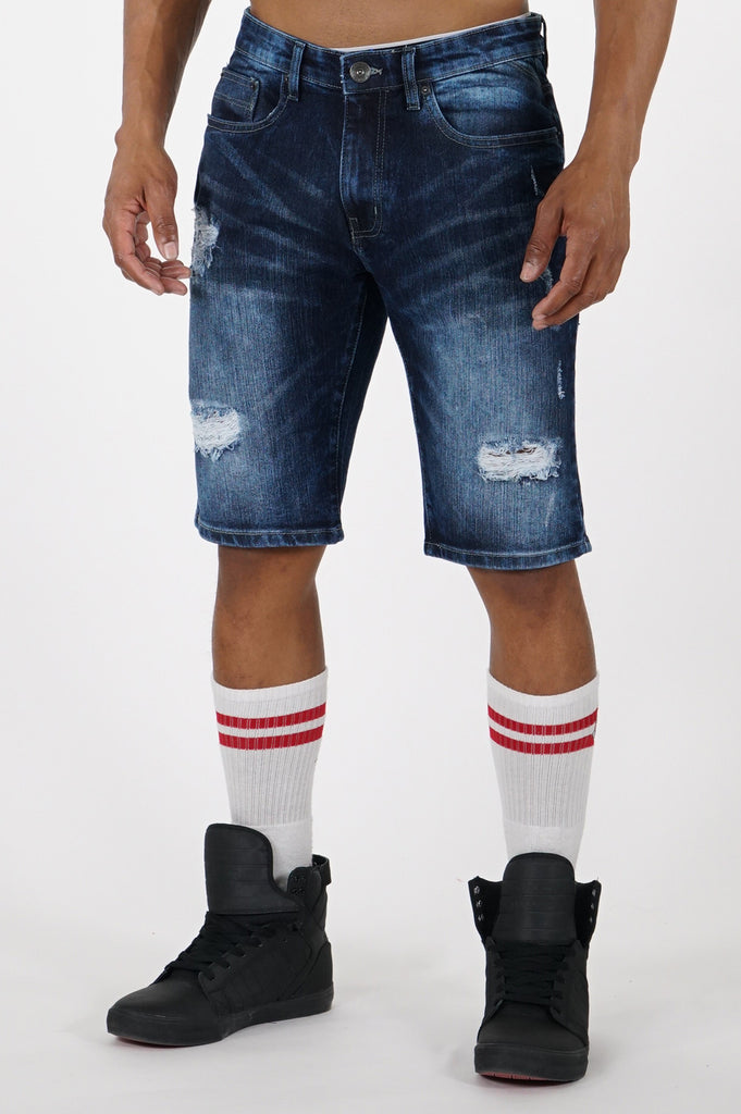 Aao Fashion Men Ripped Stretch Denim Shorts