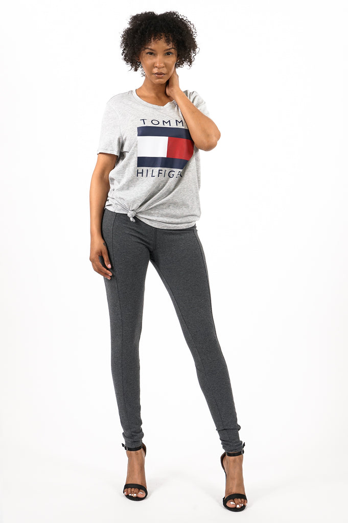 Tommy Hilfiger Activewear Women Logo Knot Front S/S Tee