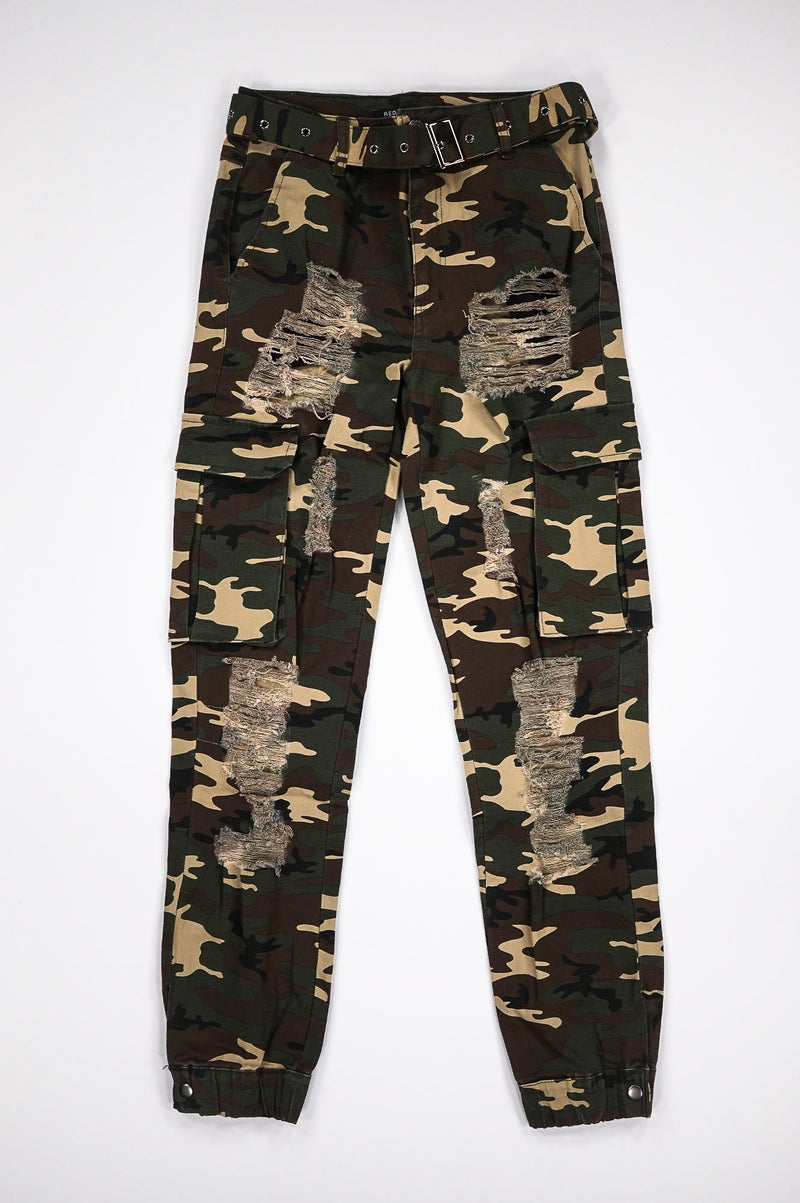 Aao Fashion Women Heavy Ripped Camo Cargo Pants