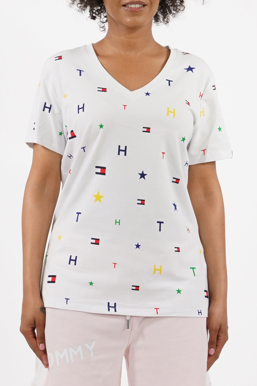 Tommy Hilfiger Activewear Women V Neck Short Sleeve Printed Logo Idol Tee