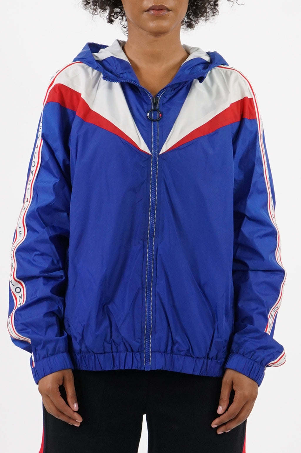 Tommy Hilfiger Activewear Women Hooded Colorblocked Windbreaker Jacket W/Logo Tape