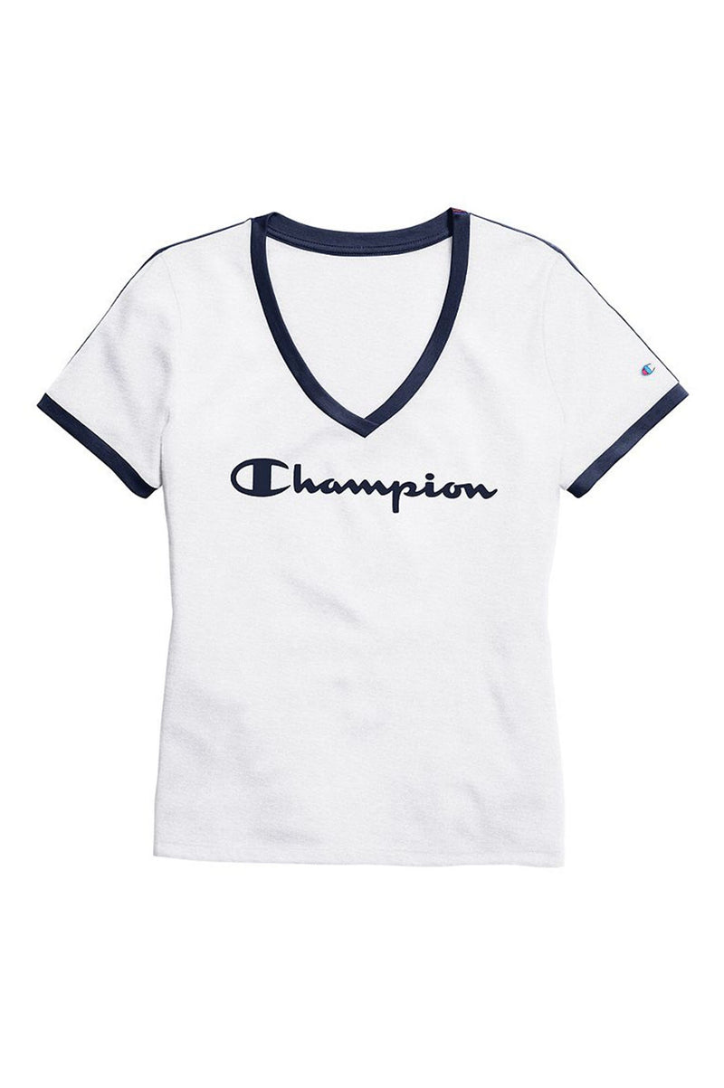 Champion Women Heritage V-Neck Ringer Tee