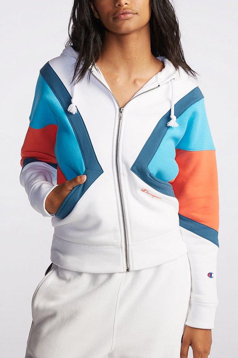 Champion Women Reverse Weave Colorblock Zip Hood