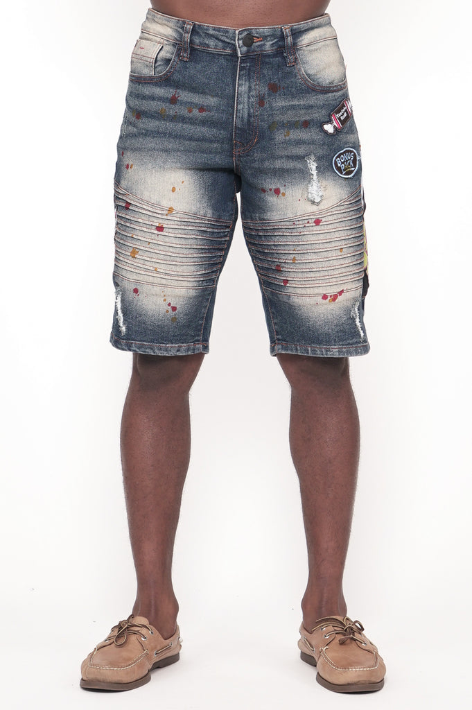 Southpole Mens Tootsie Multiple Patches Denim Shorts