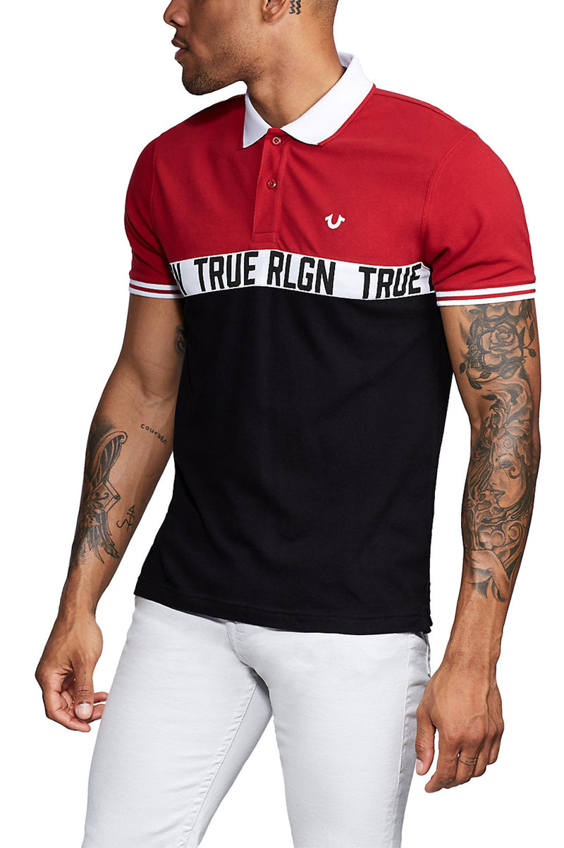 True Religion Men Color Blocked Polo S/S