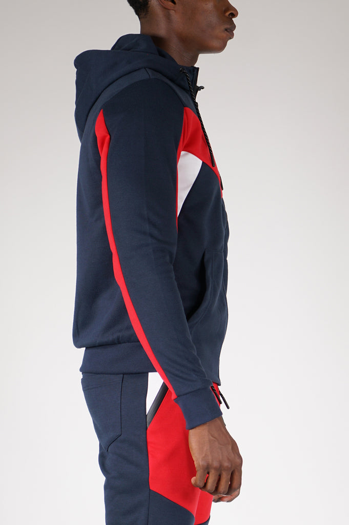 Aao Fashion Men Color Block Tech Fleece Zipup Hoodie