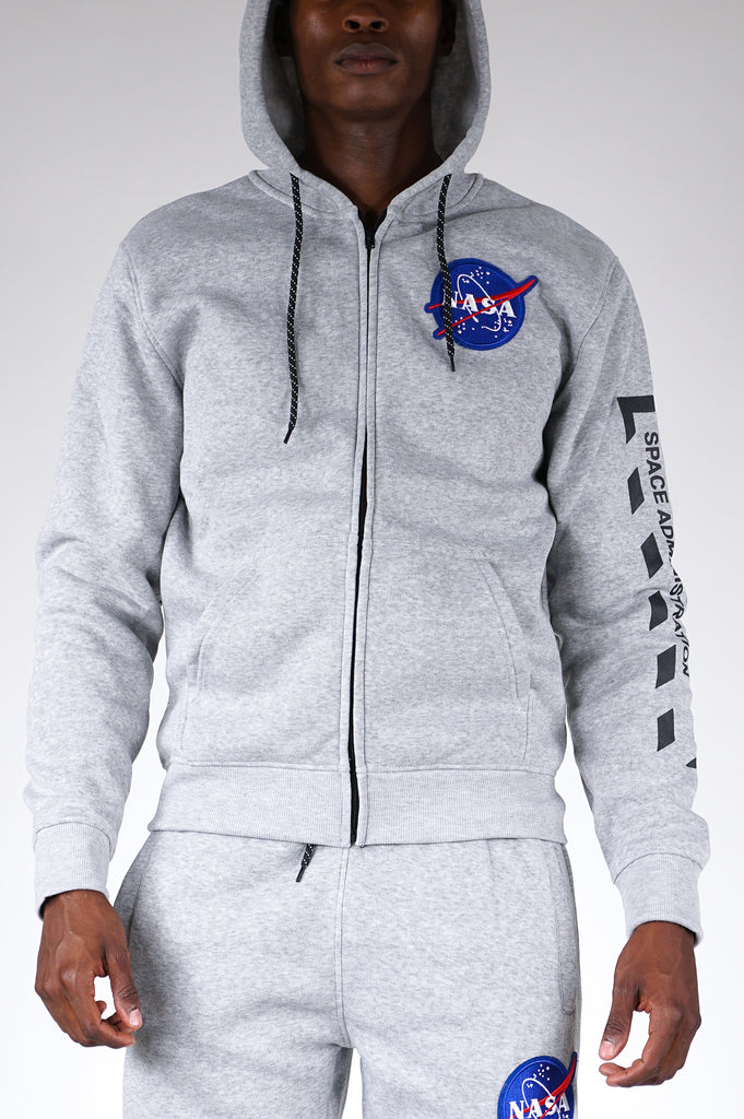 Wt02 X Nasa Men W/Embroiderded Patch & Sleeve Print Hoodie