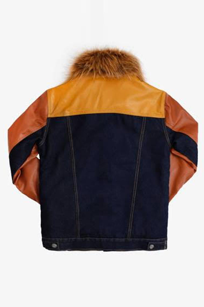 Aao Fashion Men Fashion Denim Jacket With Fur