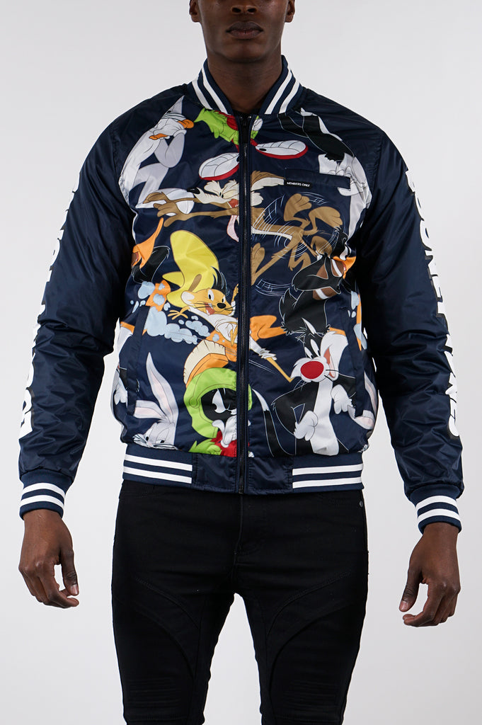 Members Only Men All Over Mash Print Looney Tunes Bomber Jacket