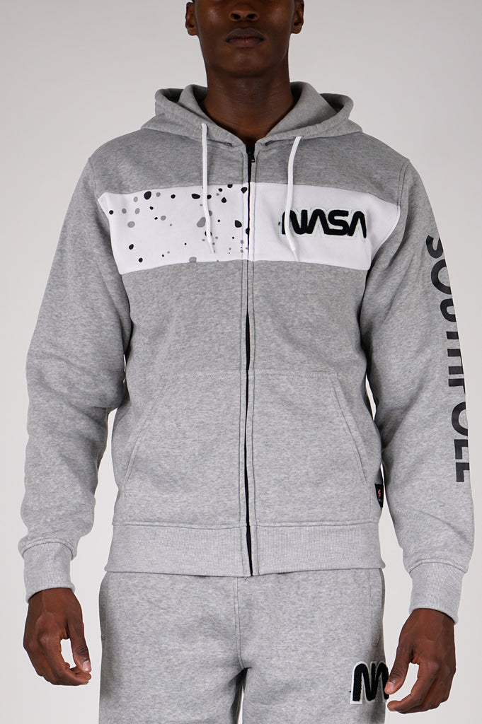 Southpole X Nasa Men Chenille Patch Fullzip Hoodie