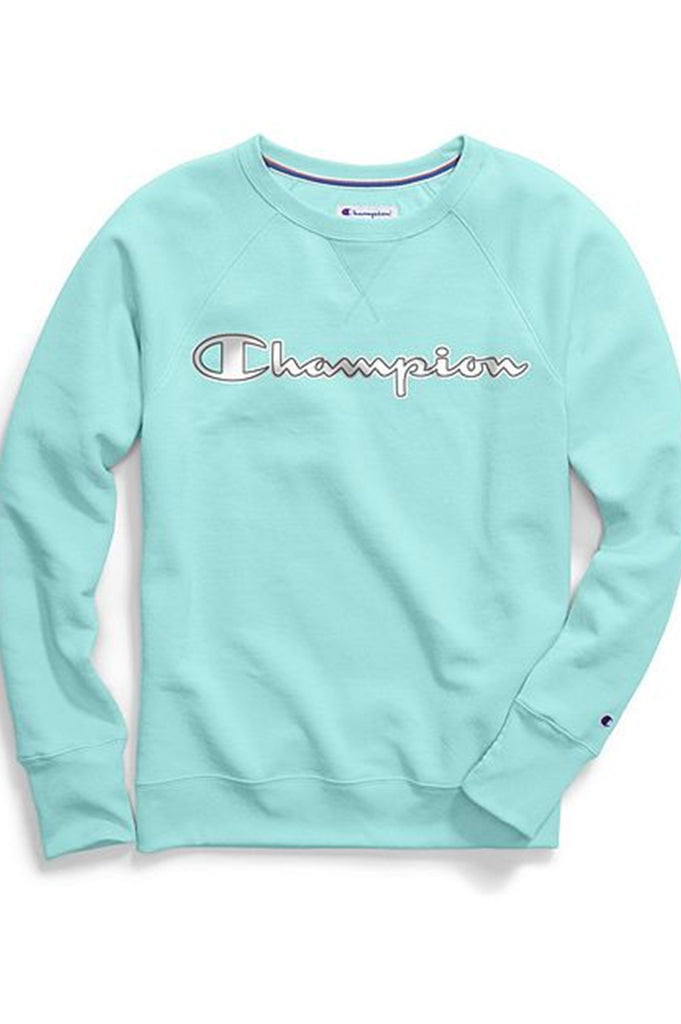 Champion Women Powerblend Applique Boyfriend Crew