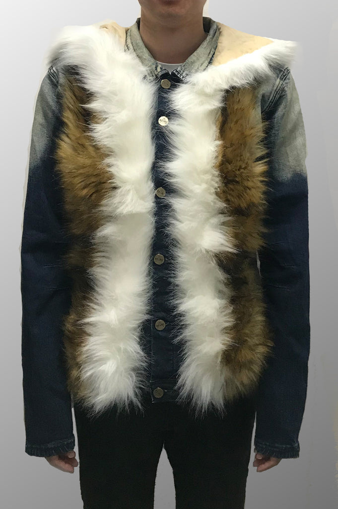 Aao Fashion Men Flus Fur Hoody Fashion Denim Jacket