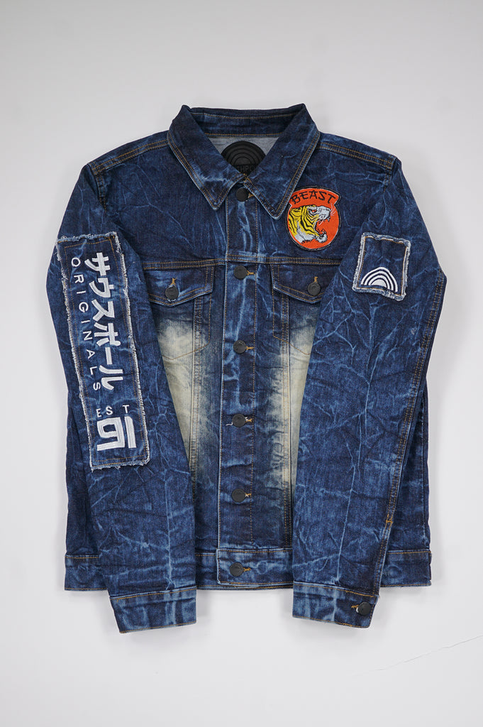 Southpole Men Applique Patch Denim Jacket