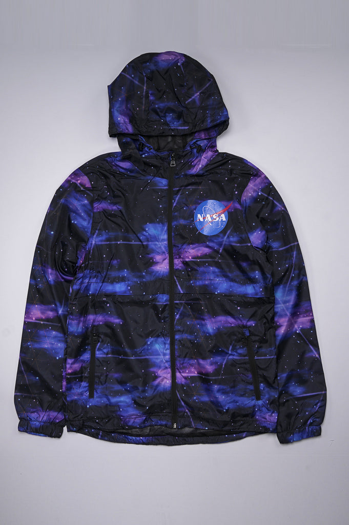 Aao Fashion Men Texture Nasa Logo Windbreaker