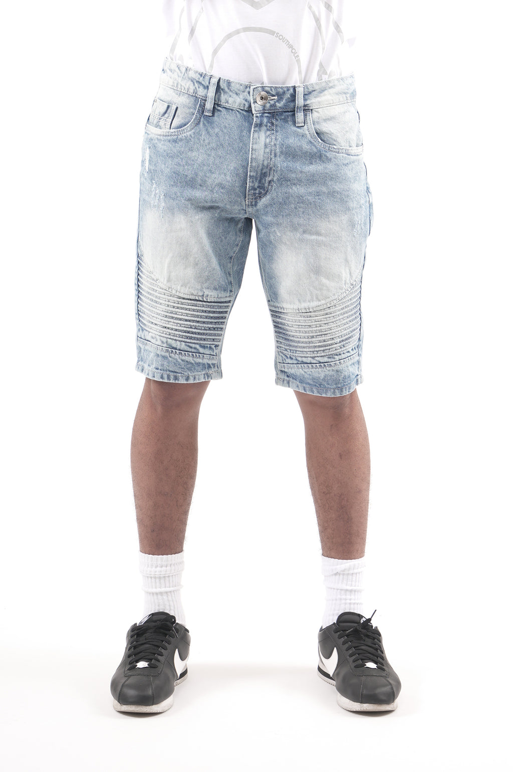 Southpole Men Biker Denim Shorts