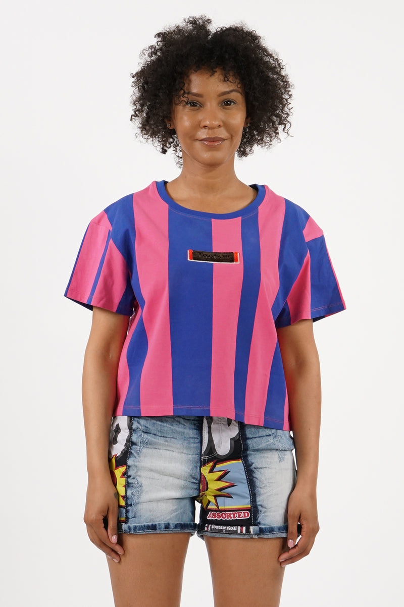 Southpole X Tootsie Women Velvet Stitch Cropped T-Shirt