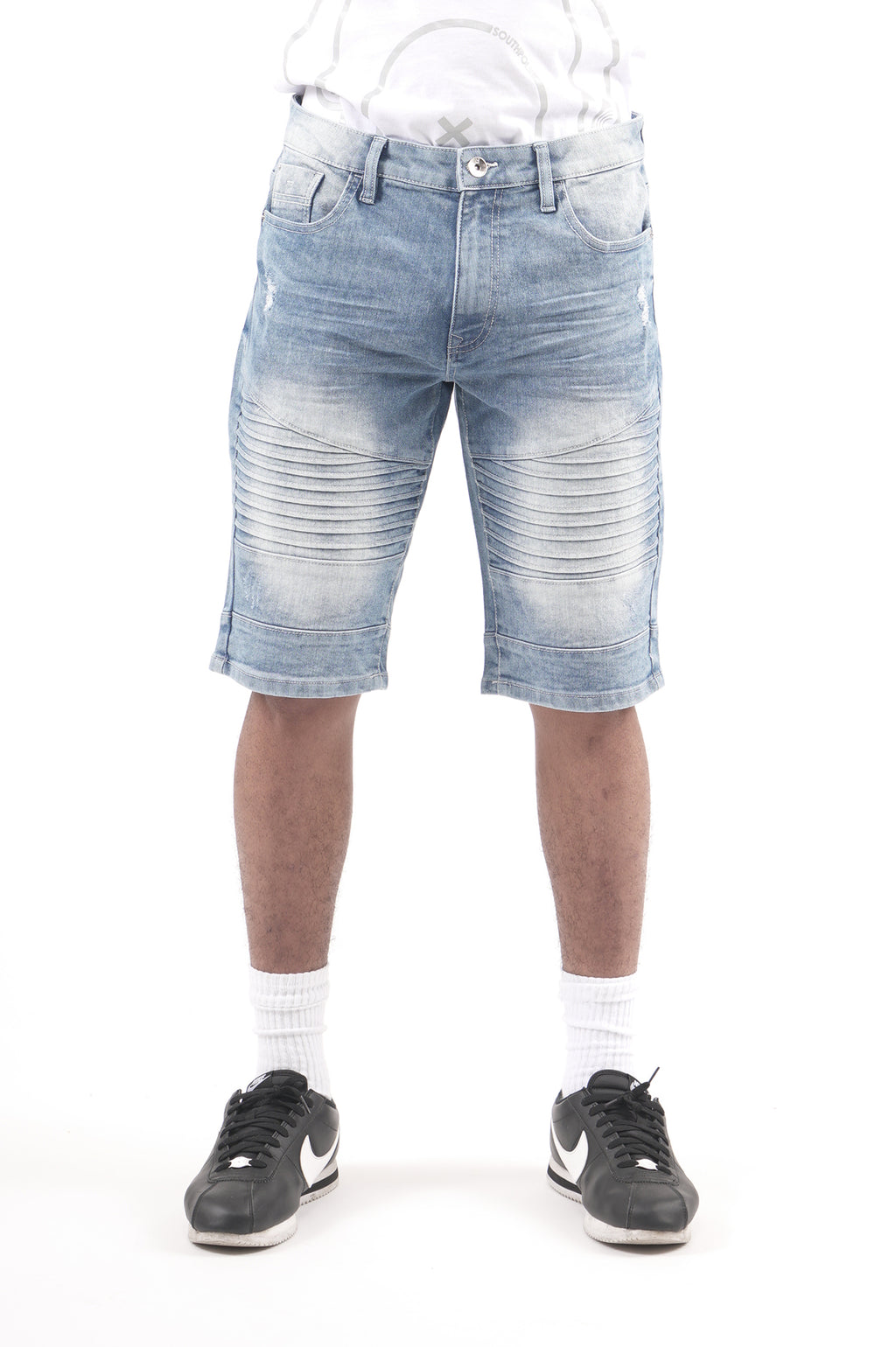 Southpole Men Biker Stretch Denim Shorts