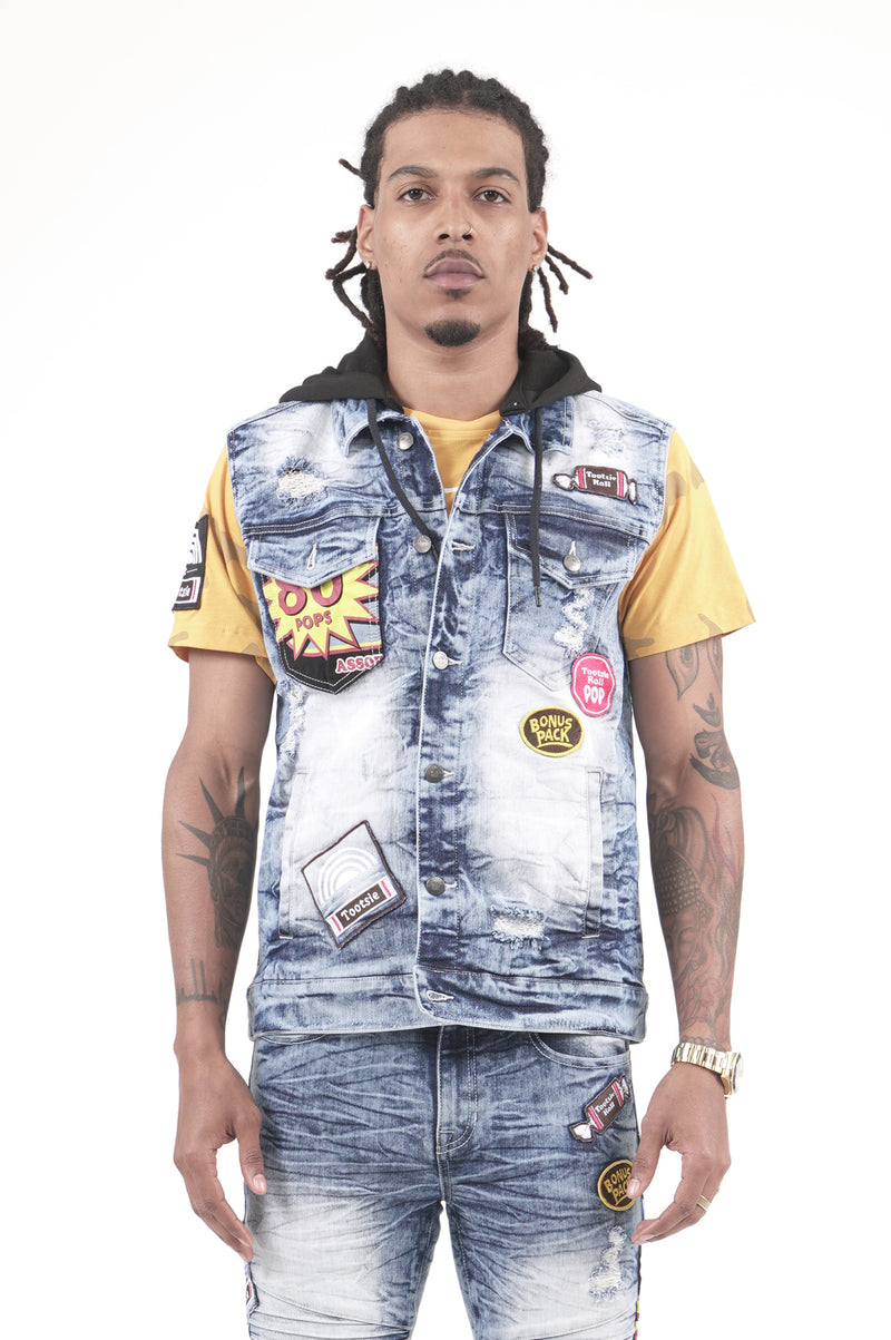 Southpole X Tootsie Men Patch Denim Vest