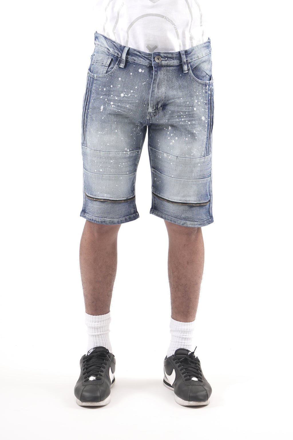 Southpole Men Side Pin-Tuck Detailed Denim Shorts