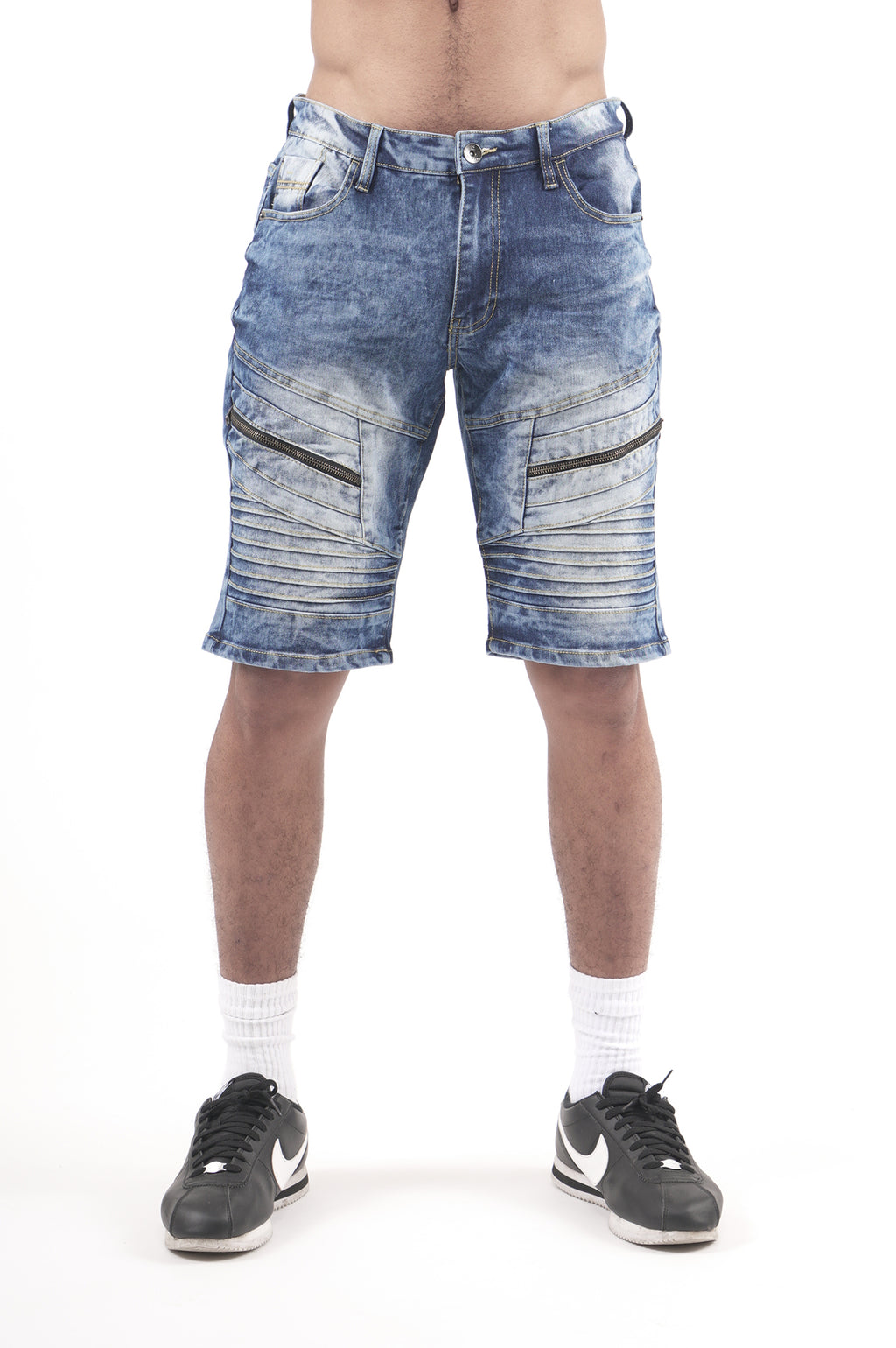 Southpole Men Biker Detailed Denim Shorts
