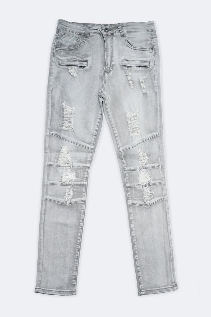 Aao Fashion Men Ribbed Biker Denim