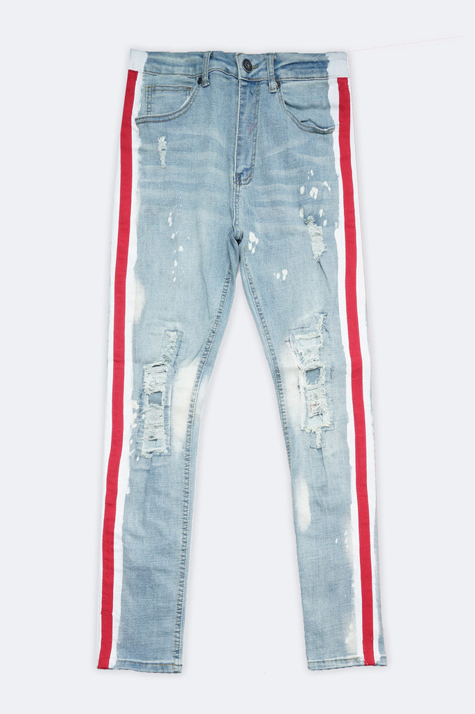Aao Fashion Men Side Stripe Splash Denim