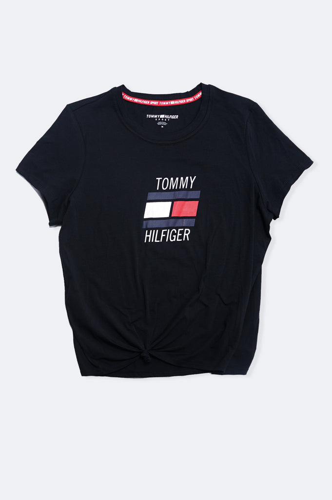 Tommy Hilfiger Activewear Women Logo Tee Knot Front Tee Large Flag New Graphic