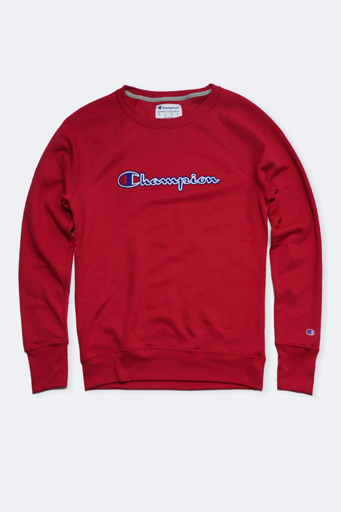 Champion Women Fleece Applique Boyfriend Crew Top