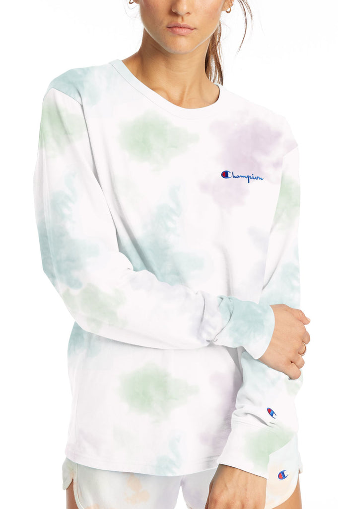 Champion Women Boyfriend Long-Sleeve Cloud Dye Tee Graphic Tee