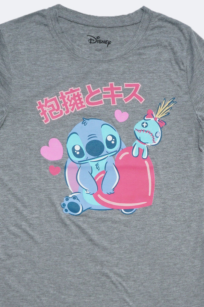 Aao Fashion Women Hearts Stitch Character Graphic Tee