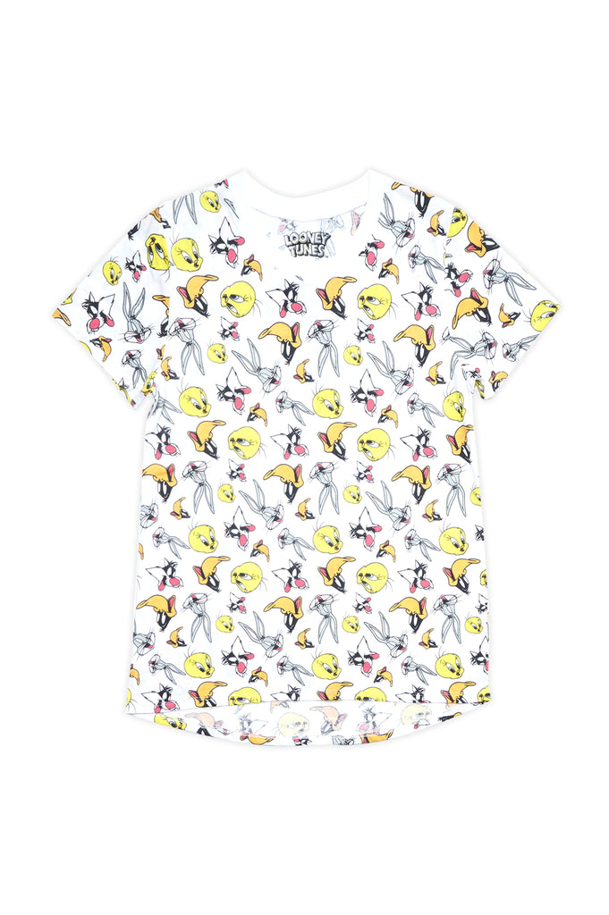 Aao Fashion Women Looney Tunes Overlap Faces Character Graphic Tee