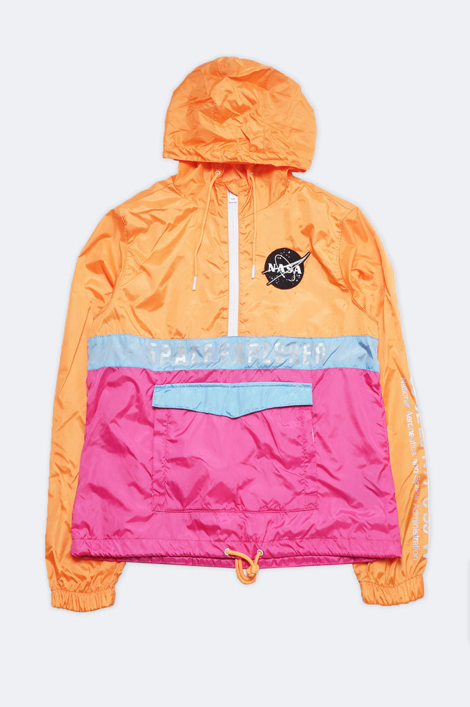Southpole Women Nasa Logo Reflective Half-Zip Windbreaker Jacket