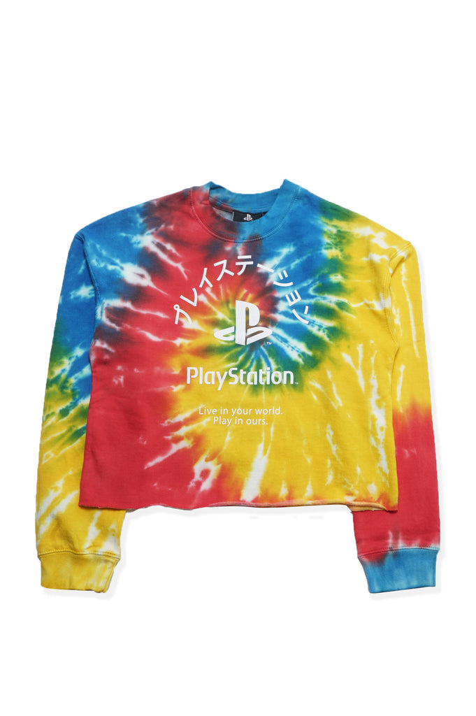 Aao Fashion Women Playstation Tie Dye Graphic Crewneck