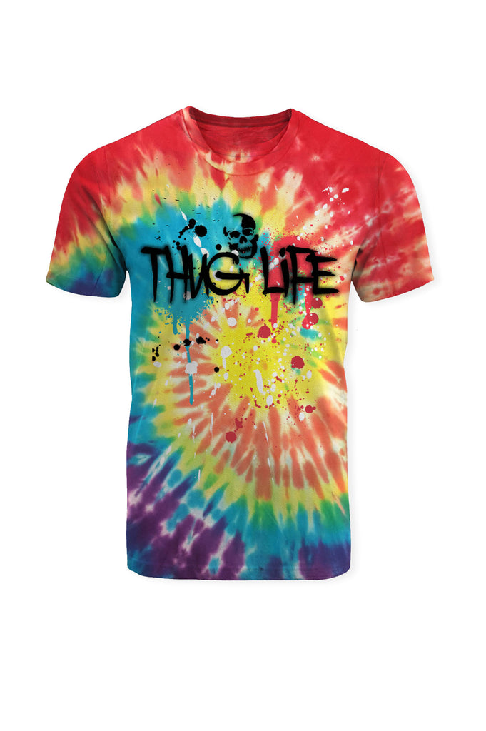 Aao Fashion Men Tie Dye Thug Life Graphic Tee