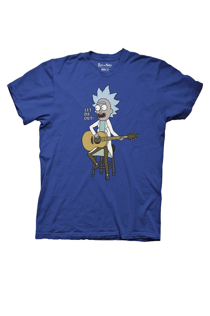 Aao Fashion Men Rick And Morty With Guitar Graphic Tee