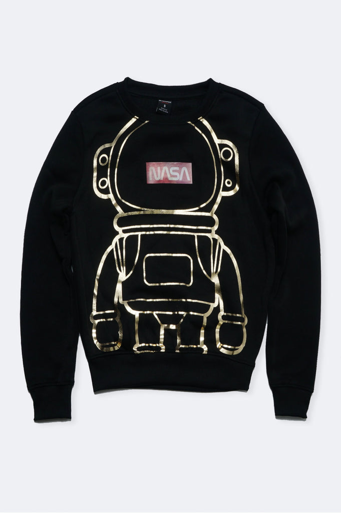 Southpole Women Gold Foil Print Nasa Sweatshirt