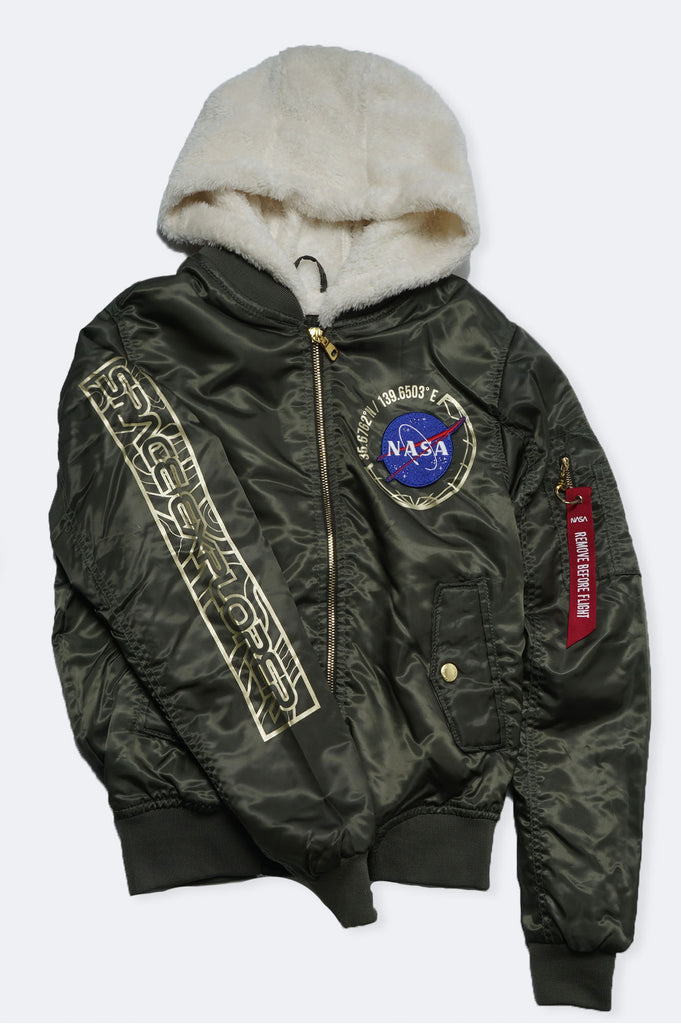 Southpole Women Nasa Padded Ma1 Sherpa Flight Bomber Jacket