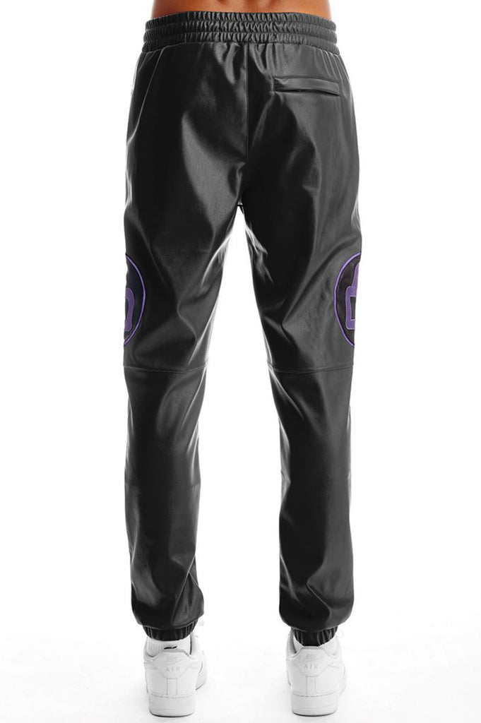 Aao Fashion Men Pu Jogger Patch Pants