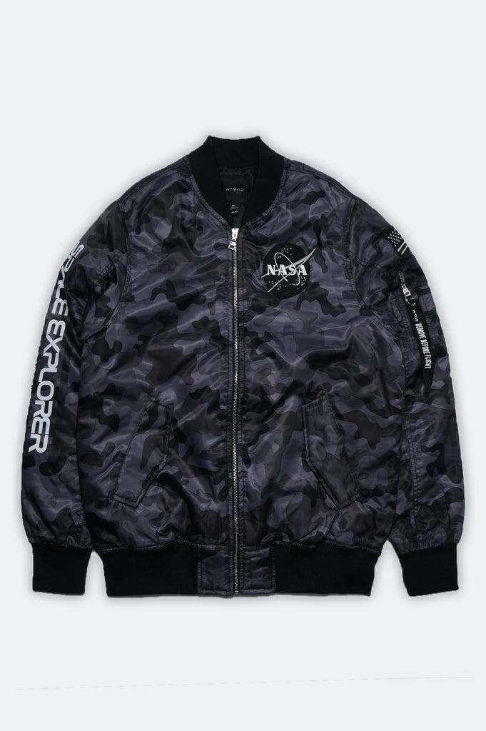 Aao Fashion Men Nasa Padded Bomber Jacket