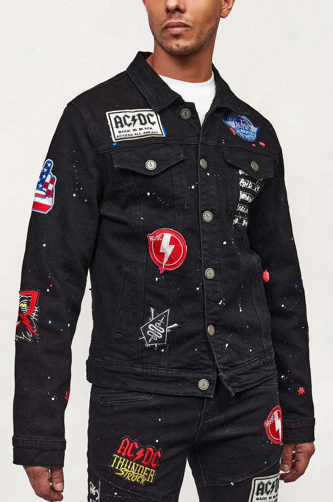 Reason Men Acdc Embellished Ready Denim Jacket