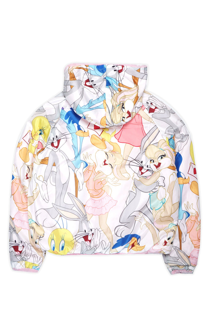 Members Only Women Sherpa Reversible Jacket W/Looney Tunes Cartoon Print