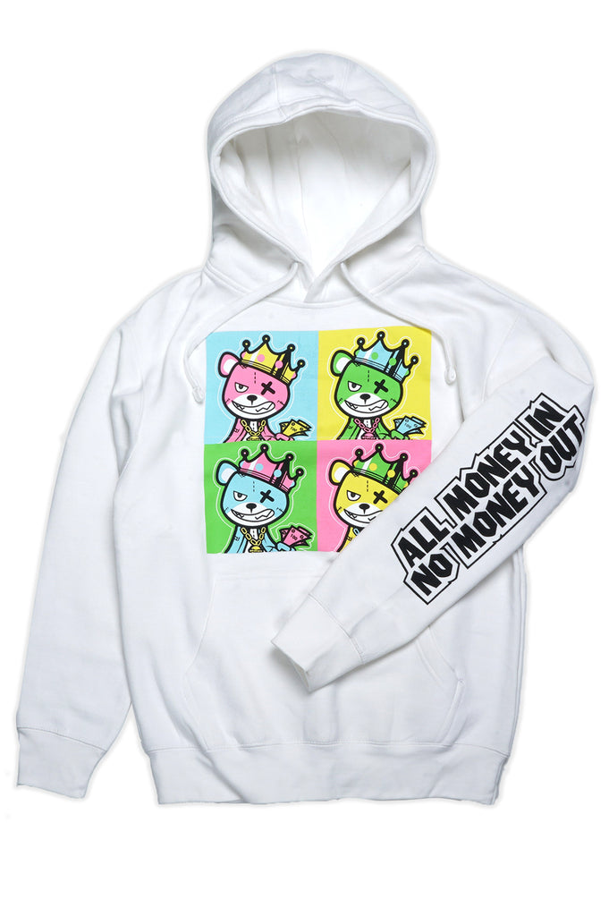Aao Fashion Men All Money In Bear Pullover Graphic Hoodie