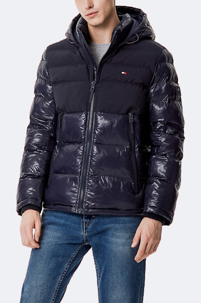 Tommy Hilfiger Outerwear Men Mixed Media Nylon Quilted Puffer Jacket