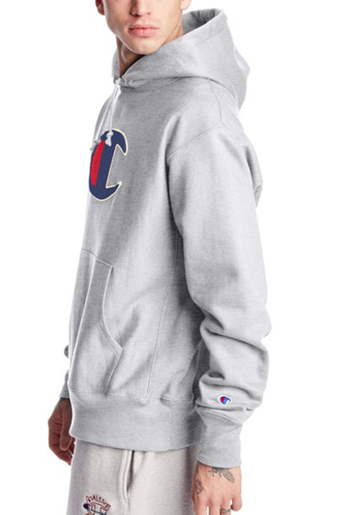 Champion Men Chenille Big C Logo Reverse Weave Hoodie