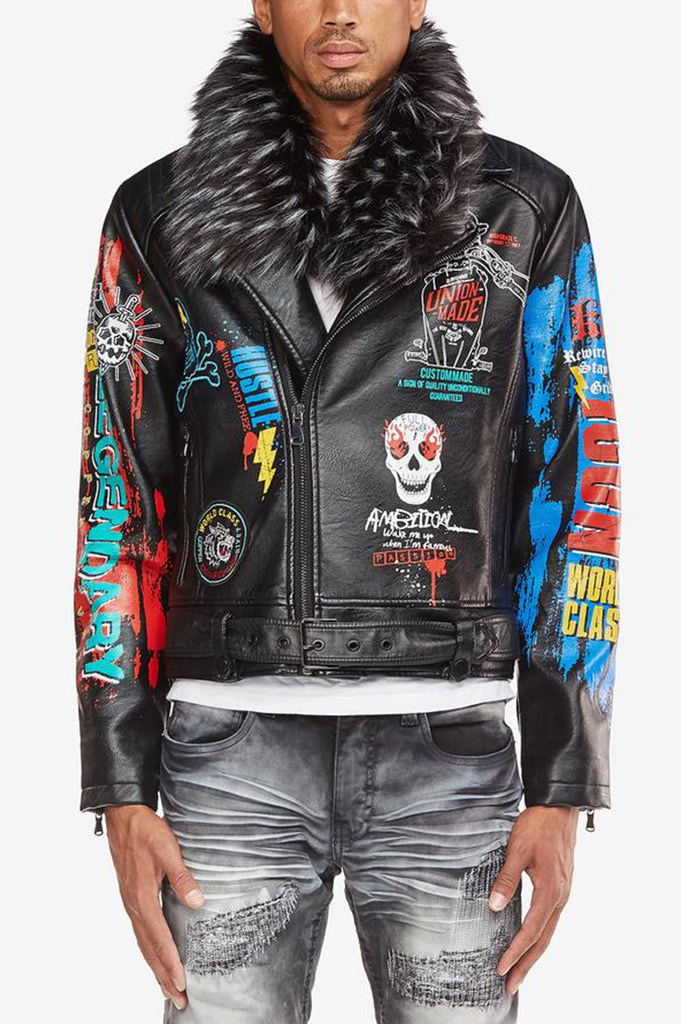 Aao Fashion Men Faux Fur Leather Biker Jacket
