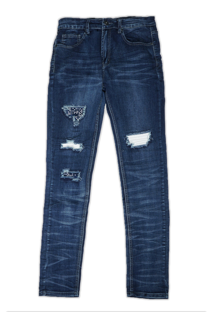 Aao Fashion Men Distressed Ripped Biker Denim
