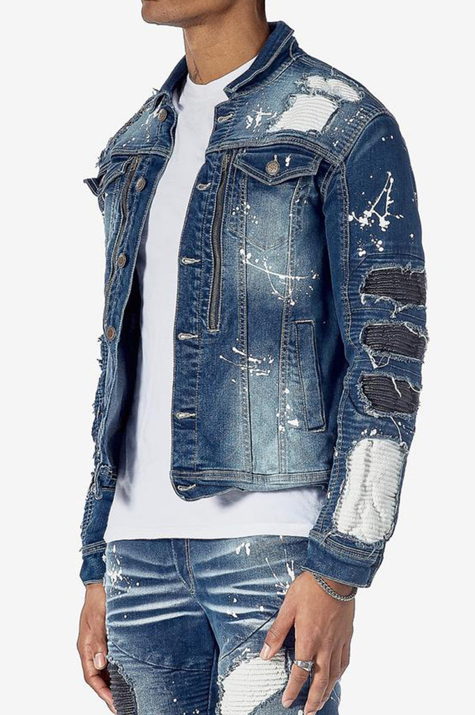 Aao Fashion Men Biker Rip & Repair Denim Jacket