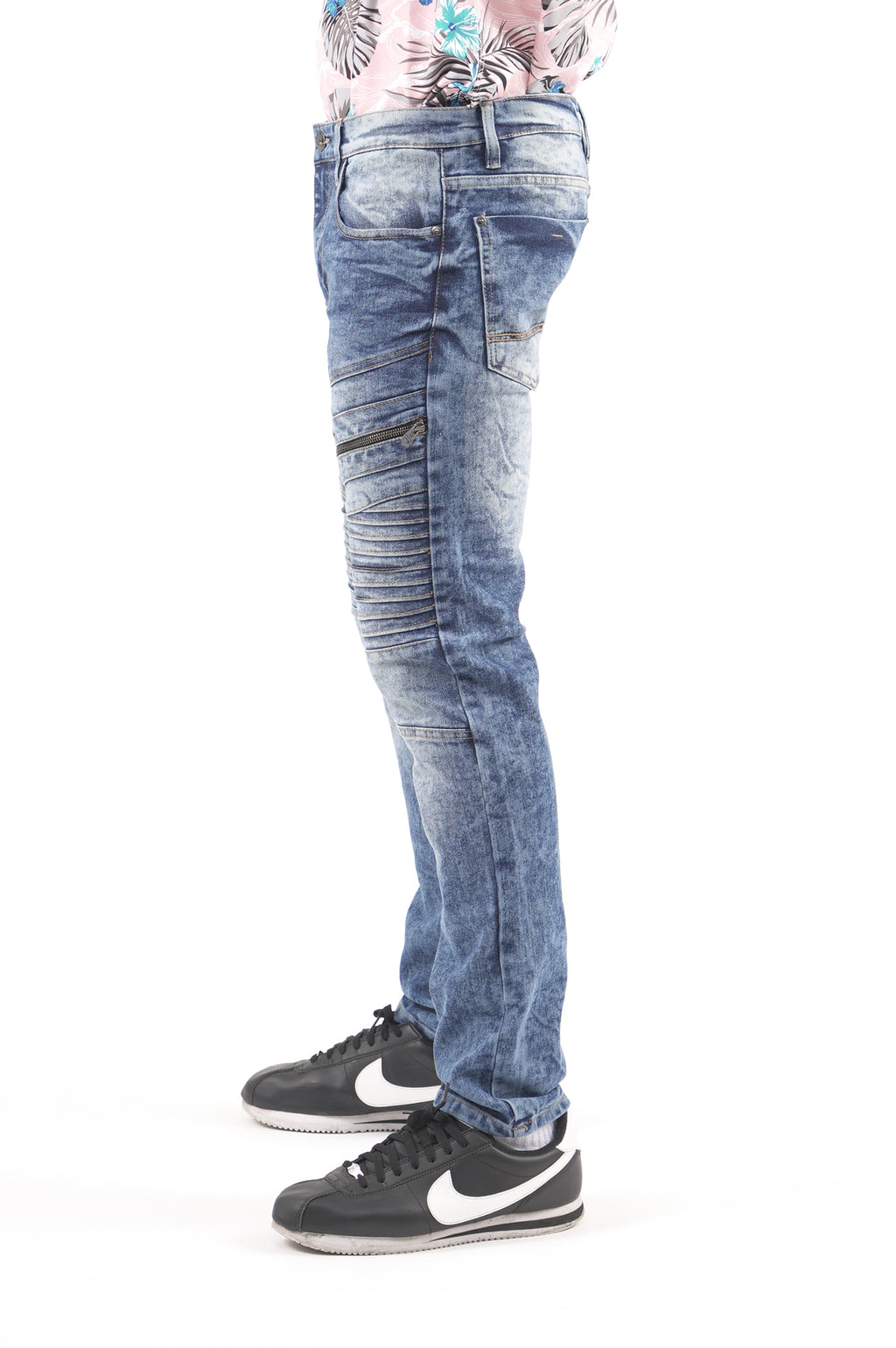Southpole Men Biker Detailed Denim
